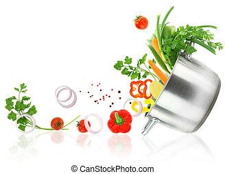 verduras frescas, salir, de, un, acero inoxidable, cazuela,...