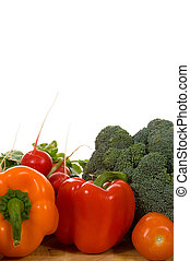 verduras frescas, tabla de cortar