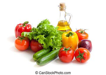 verduras frescas, y, aceite, naturaleza muerta, aislado