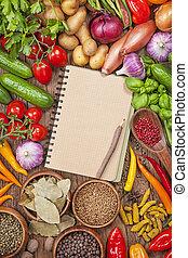 verduras frescas, y, blanco, receta, libro