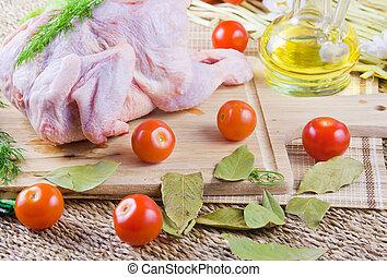 verdure, carcasse, conseil bois, poulet frais, tomates