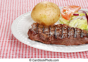 verdure cotte ferri, bistecca