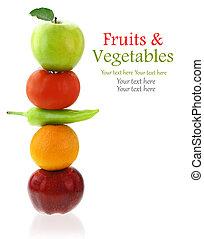 verdure fresche, bianco, isolato, frutte