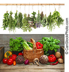 verdure fresche, e, appendere, herbs., cibo crudo, ingredienti