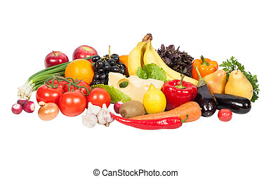 verdure fresche, e, frutte, isolato, bianco