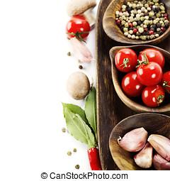 verdure fresche, e, spezie