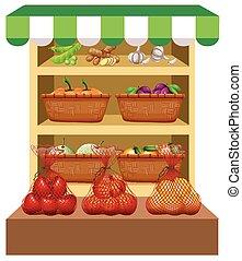 verdure fresche, frutte, mensole