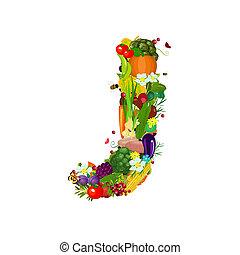 verdure fresche, j, lettera, frutte