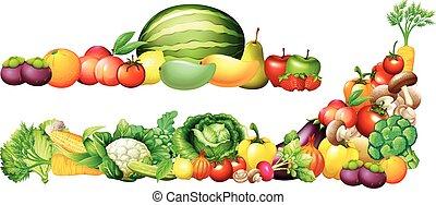 verdure fresche, mucchio, frutte