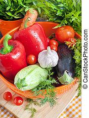 verdure fresche, (ratatouille, ingredients)