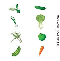 verdure fresche, set, verde