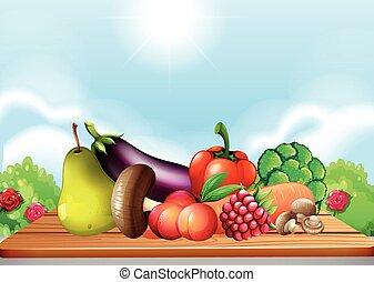 verdure fresche, tavola, frutte