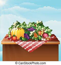 verdure fresche, tavola