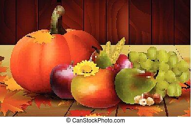 verdure fresche, uva, frutte
