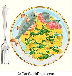 verdure, nudel, fische, heiß, besprüht, tellergericht