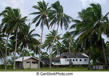 veregetés, épület, lerombol, ciklon, aitutaki, lagúna,...
