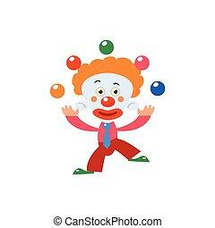 vereinfacht, jonglieren, clown, freigestellt