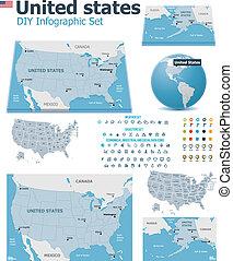 vereinigte staaten, karten, mit, markierungen