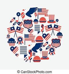 vereint, card., gruß, staaten, amerika, tag, unabhängigkeit