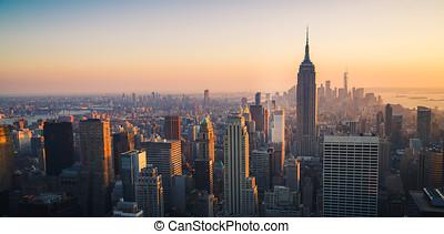 vereint, stadt, ame, sonnenuntergang, staaten, skyline, york, neu , manhattan