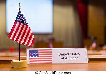 vereint, von, america's, klein, fahne, auf, treffen tisch