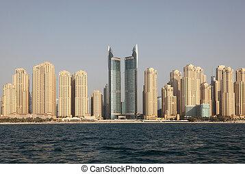 vereint, wohnsitz, jumeirah, araber, emirate, cityscape., sandstrand, dubai