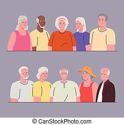 verenigd, afbeeldingen, mensen, oud