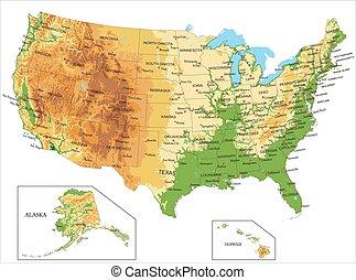 verenigd, america-physical, kaart, staten