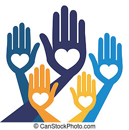 verenigd, behulpzaam, vector., handen
