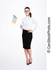verenigd, businesswoman, jonge, staten, vlag, vasthouden, amerika, vrolijke