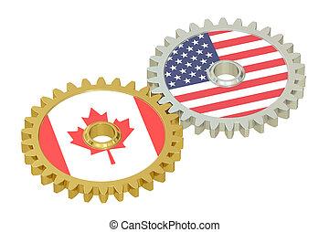 verenigd, canadees, concept, relaties, staten, vertolking, vlaggen, gears., 3d
