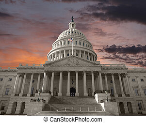 verenigd, capitool, op, hemel, staten, dageraad