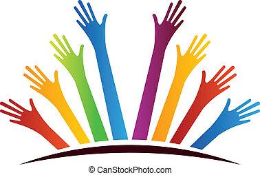 verenigd, handen
