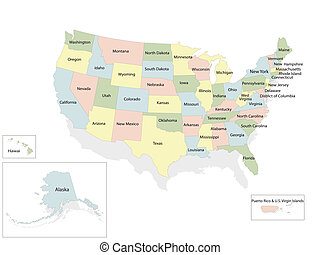 verenigd, kaart, amerika, staten