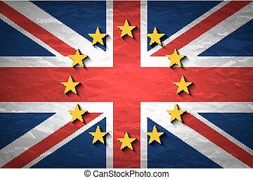 verenigd koninkrijk, en, europese unie, vlaggen, gecombineerd, voor, de, 2016, referendum, op, verfrommeld papier, achtergrond., ouderwetse , effect, brexit