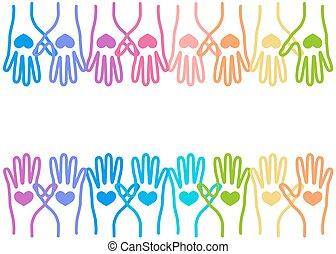 verenigd, liefde, kleurrijke, mensen, samen, handen