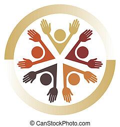 verenigd, mensen, design.