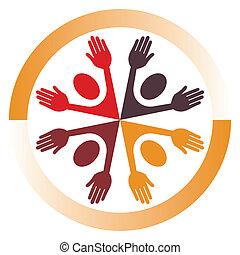 verenigd, mensen, ontwerp