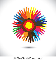 verenigd, mensen, universeel, gemeenschap, flower:, staand, iconen, concept., broederschap, vrolijke , kleurrijke, vertegenwoordigt, illustratie, hand, kroonbladen, eenheid, portie, grafisch, dit, enz., vector, team