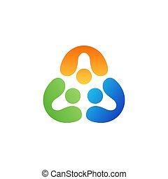 verenigd, mensen, vector, logo, ontwerp, symbool, teamwork, driehoek, pictogram