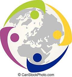 verenigd, mensen, vector, ontwerp, mal, logo
