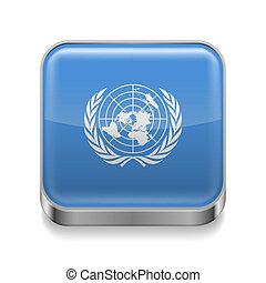 verenigd, metaal, pictogram, naties