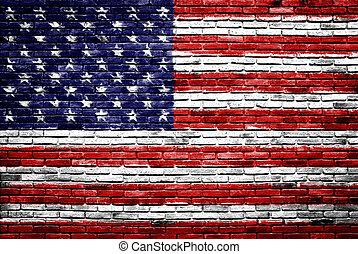 verenigd, oud, geverfde, staten, muur, vlag, baksteen,...