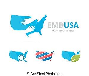 verenigd, set, combination., usa, symbool, logotype, amerika, of, staat, omhelzing, ontwerp, logo, omhelzen, icon., uniek, template.