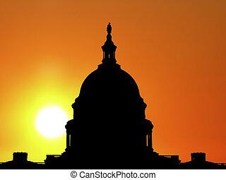 verenigd, silhouette, capitool koepel, staten, zonopkomst