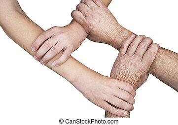 verenigd, vrijstaand, handen