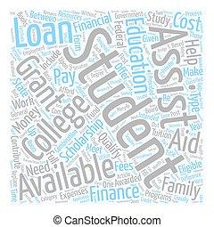 verfügbar, begriff, finanziell, studenten, text, wordcloud, hintergrund, hilfe