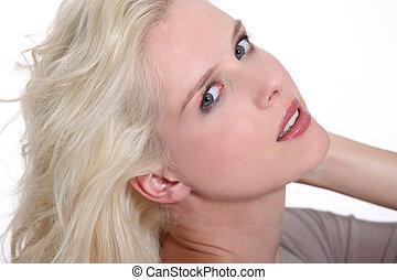 verführerisch, blond, frau