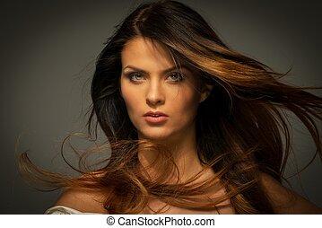 verführerisch, frau, brunette haar, langer