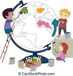 verf , globe, geitjes, stickman, illustratie